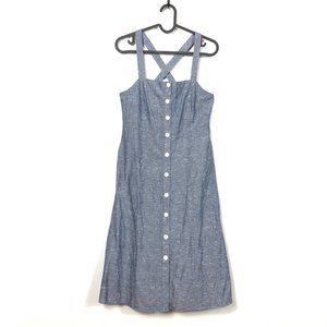 Madewell Chambray Tank Button-Front Midi Dress NWT